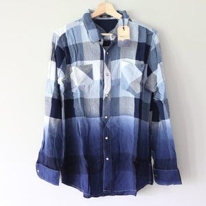 Silver Jeans Co Womens Dip-dye Plaid Button Down Shirt